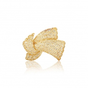Yellow Gold Diamond Bow Brooch